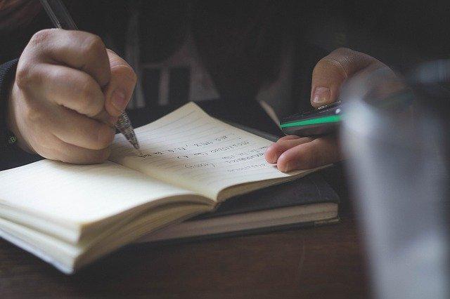 psaní do bloku
