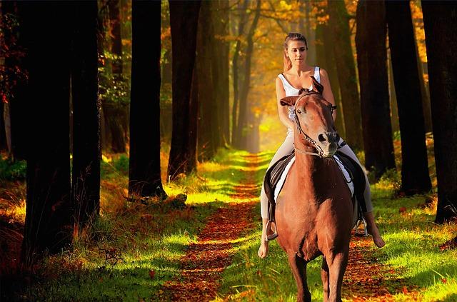 žena v parku na koni